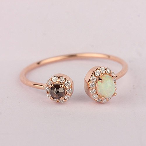 Natural 0.24Ct Pave Diamond Opal Gemstone Fine Delicate Ring Solid 14k Rose Gold Mother's Day Sale Handmade Wedding Jewelry 0.24 Ct Pave Diamond