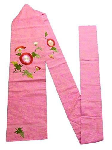 理容師繊毛余計なアンティーク 名古屋帯 夏物 絽 刺繍  アザミの花模様