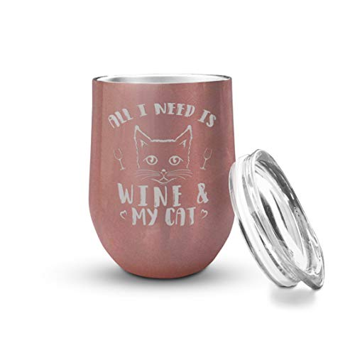 Veracco All I Need Is Wine & My Cat Double Wall Insulated Tumbler with Splash Proof Lid (Rose Gold) (A Wine Glass That Fits My Needs)