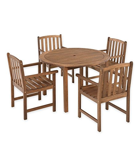 - Plow & Hearth Lancaster Outdoor Furniture Collection 5 Piece Eucalyptus Wood Round Dining Table 4 Chairs Set Deck Patio