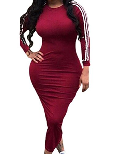 Step As1 Coolred Dresses Sweatshirts Sleeve Long Long One Stripes Women Skinny R4Bwqf6