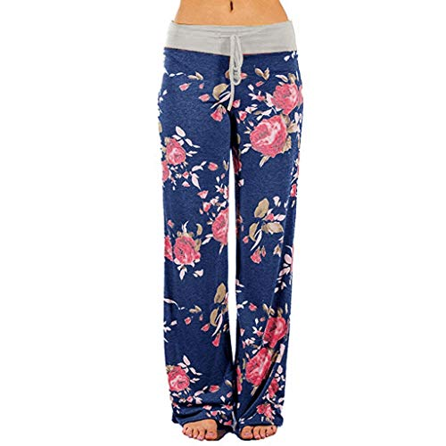 Tantisy ♣↭♣ Women's Comfy Casual Trousers Floral Print Drawstring Palazzo Pants Casual Yoga Pants Wide Leg Pants Gray