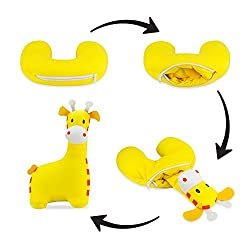 Satellas Giraffe Neck Pillow/Stuffed Animal Travel Pal Perfect Travel Pillow for Any Age - Converts from Neck Pillow to Stuffed Animal
