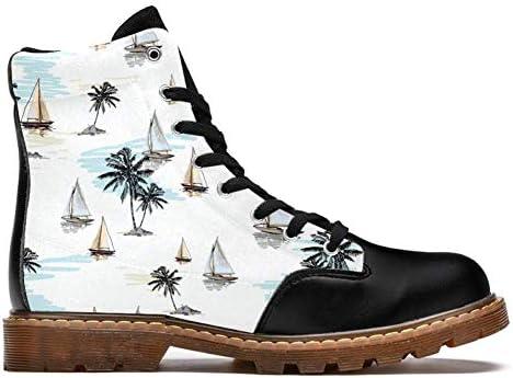 TIZORAX Kokospalmen Segelboot Sommer Strand Surfen Muster Drucken High Top Schnüren Klassische Canvas Winterstiefel Schulschuhe für Herren Teenager Jungen  3CLxY