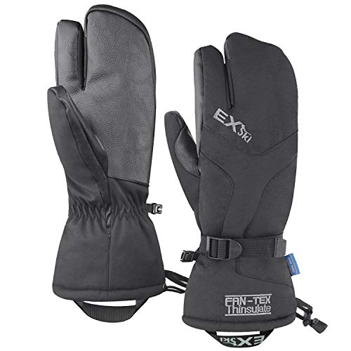 EXski Waterproof Ski Gloves Thermal 3M Thinsulate 3-Finger Winter Mittens
