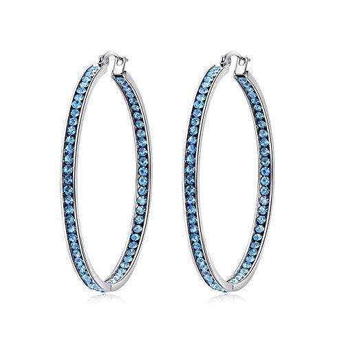 (CiNily Ladies Earring Hoops-Large Hoops Stainless Steel Hoop Earrings for Women Blue Cubic Zirconia Big Hoop Earrings 2