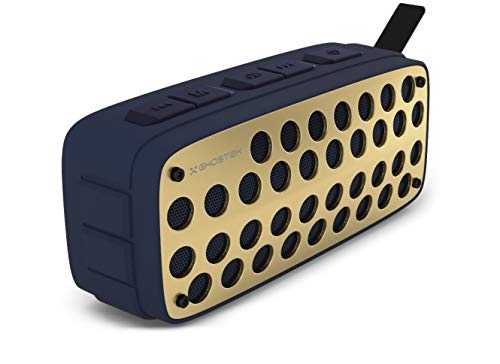 Ghostek Forge True Wireless Bluetooth Speaker with Built-in Mic and FM Radio - Blue/Gold | Portable Premium Stereo Sound with Enhanced Bass and Water Resistant (Finding The Best Waterproof Shower Radio)