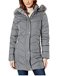 Chevron Quilted Puffer w/Faux Fur Trimmed Hood