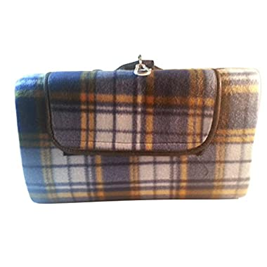 Multipurpose Picnic Blanket with Waterproof Backing and Hands-free Portability (Blue orange plaid)