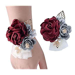 VEIDO Wrist Flower Corsage Rose Flowers Brooch for Wedding Party Prom Wristband Flower Set 2 Pack Corsage04 86