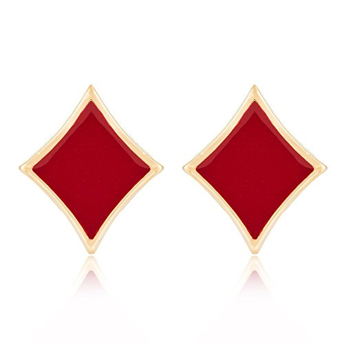Gold Tone Black Red Enamel Lucky Poker Set Earrings Fashion Charm Jewelry (square)