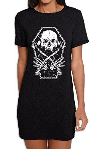 Grim Reaper Skeleton In A Coffin Women's T-Shirt Dress T-Shirt (Small, Black) -
