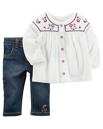 - Carter's Baby Girls' 2 Piece Embroidered Tunic and Pants Set 3 Months