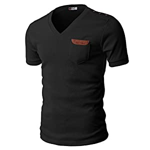 H2H Mens Slim Fit V-neck T-shirts Basic Cotton Of Various Styles