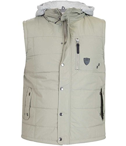 Mens SOULSTAR Houghton Fleece Hood Heavy Padded Gilet Taupe Medium