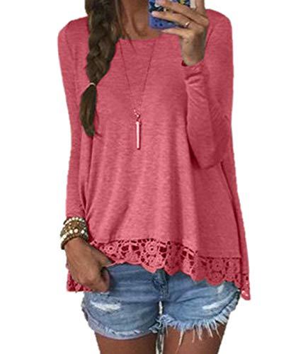 T Rouge Fashion Col Blouse Pastque Automne Tees Jumpers Longues Femmes Hauts Printemps Onlyoustyle Casual Rond Shirts pissure et Manches Dentelle Tops TxCRRq