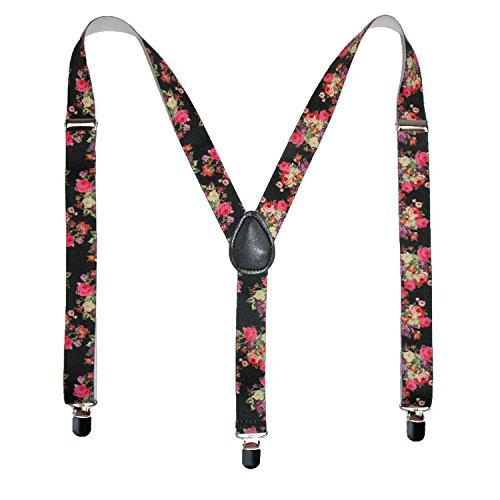 CTM Women's Elastic Floral Print Suspenders