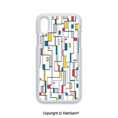Plastic Rigid Mobile Phone case Compatible with iPhone X Black Edge Abstract Pattern Geometric Minimalistic Modern Contemporary Art 2D Print Hard Plastic Phone Case