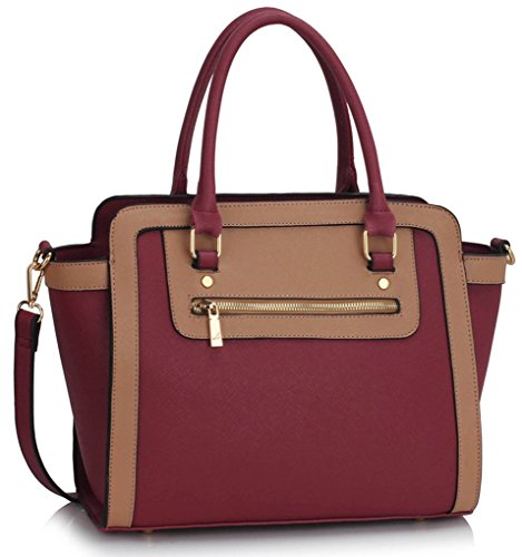Leather PU Women LeahWard BURGUNDY Bag Quality Women's NUDE For Holiday Work Tote 255 Handbags Shoulder Chic School qpvxEwv5