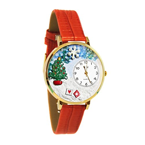 Whimsical Watches Women's G1220002 Christmas Tree Red Leather