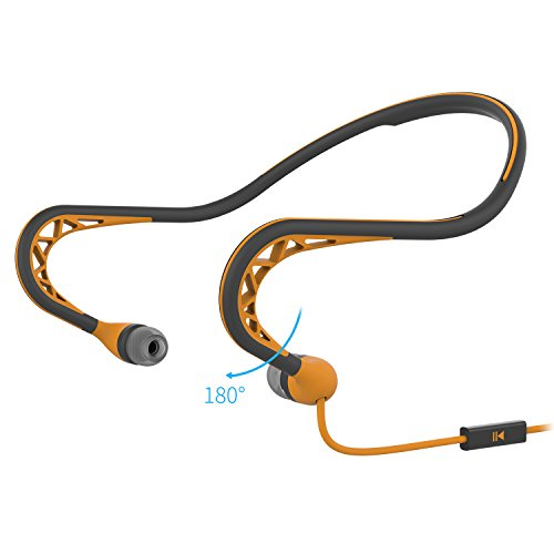 Orange Earphones Headphones (Workout Headphones, MUCRO Exercise Wired Sports Earphones With Mic Stereo Sweatproof In Ear Earbuds For Running Gym Workout In Ear Music Headsets (orange))
