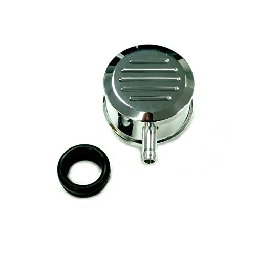 Hot Rod Polished Billet Al Round Ball Milled Valve Cover PCV Breather W/ Grommet ()