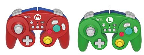 2 PACK HORI Battle Fight Pad Value Bundle for Wii U (Mario & Luigi Bundle Versions) with Turbo - Nintendo Wii U GameCube Classic Pro Controller Game Pad Red and Green (Mario Gamecube Hori)