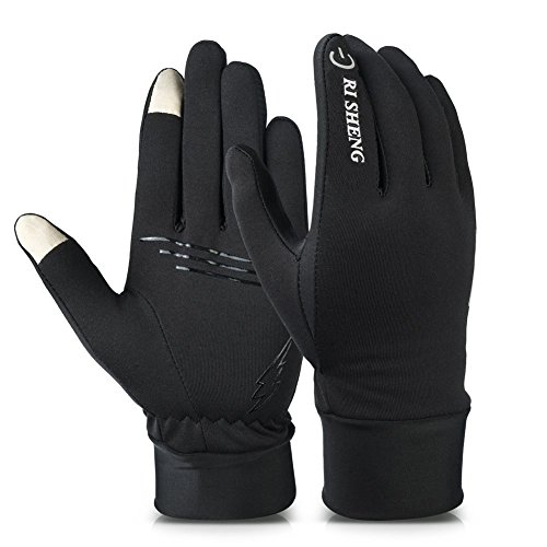 Alando Touchscreen Handschuhe Unisex Sporthandschuhe Fahrradhandschuhe mit Touchscreen-Funktion (Schwarz, L)