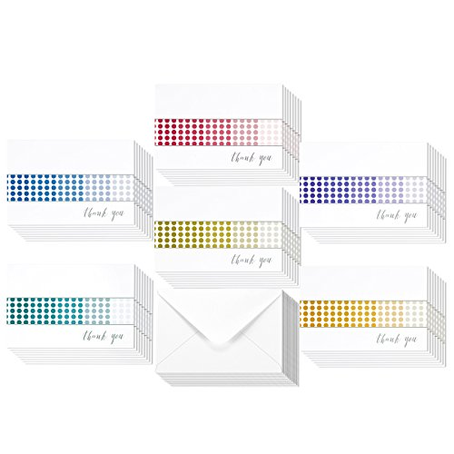 48 Pack Thank You Greeting Cards 6 Colorful Blank Gradient Greeting Cards Assortment Includes Corresponding Greeting Card Envelopes 4 x 6 - Gradient Card
