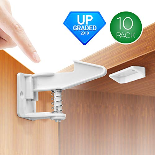 Price comparison product image Cabinet Locks Baby Proofing Child Safety Locks 10 Packs,  No Tools Or Drilling Needed Safety Drawer Locks for Drawers,  Cabinets,  Closets