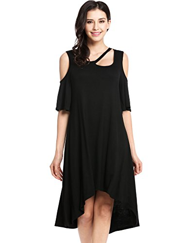 Beach Bum Dress (Zeagoo Women Casual Cold Shoulder Tshirt Midi Dress Swing Tunic Tops (Large, Black))