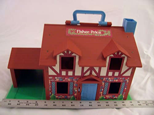 Vintage Fisher Price Little People Brown Tudor House with accessories