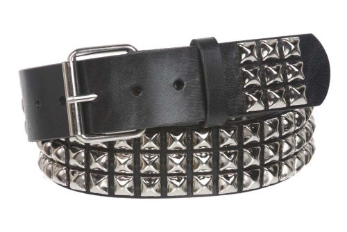 SNAP ON THREE ROW PUNK ROCK STAR METAL SILVER STUDDED LEATHER BELT Color: Black Size: S/M