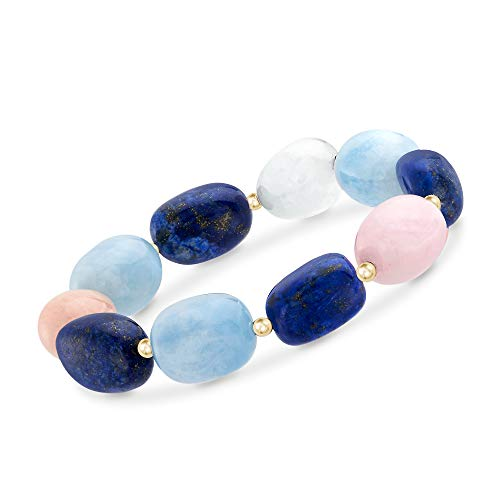 Ross-Simons Pink and Blue Multi-Stone Bead Stretch Bracelet With 14kt Yellow Gold ()