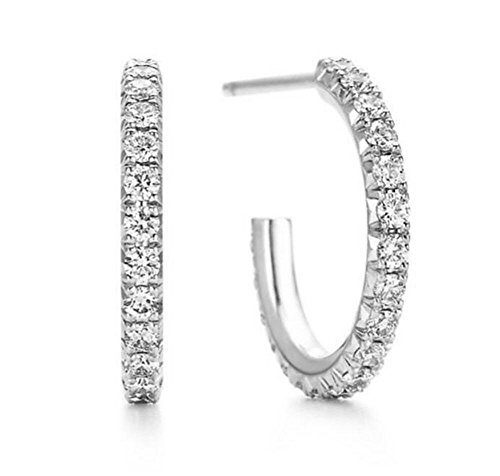 Tiffany Pave Earrings - SALE Designer Sexy French Hoop Pave Simulated Diamond Earrings SOLID 925 Silver
