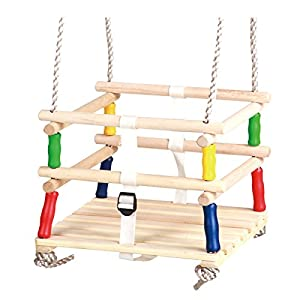 HIKS Wooden Baby / Toddler / Childs Garden Outdoor Swing Seat for age group 9 – 36 months