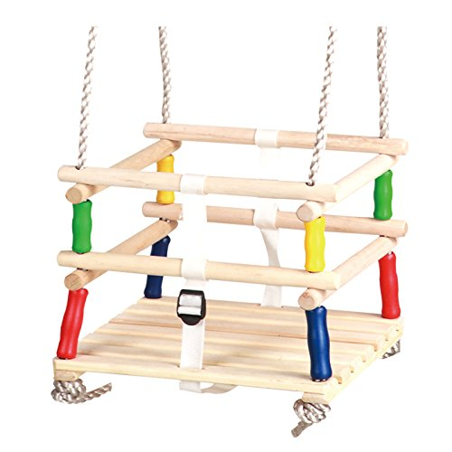 HIKS Wooden Baby / Toddler / Childs Garden Outdoor Swing Seat for age group 9 - 36 months