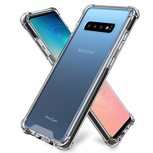 ProCase Galaxy S10 Case Clear, Slim Hybrid Crystal Clear TPU Bumper Cushion Cover with Reinforced Corners, Transparent Scratch Resistant Rugged Cover Protective Case for Galaxy S10 2019 -Clear
