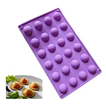 Allforhome 24 Cavity Mini Half Sphere Silicone chocolate candy Mold Ice Cube Tray Baking Pan Moulds