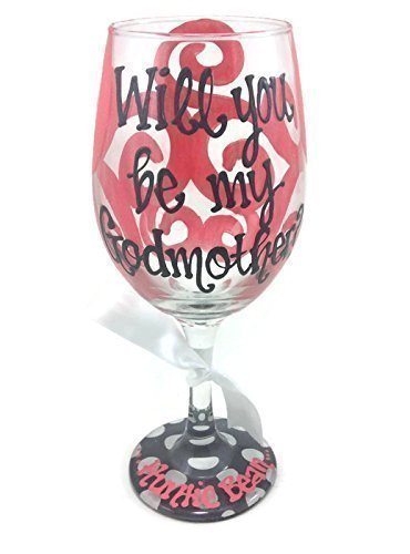 Hand-Painted Will you be my Godmother? Personalized Coral and Gray Dots