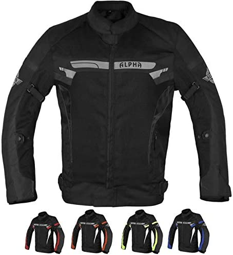 ALPHA CYCLE GEAR BREATHABLE BIKERS RIDING PROTECTION MOTORCYCLE JACKET MESH CE ARMORED BLACK WIND, X-LARGE
