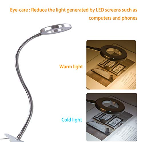 W-LITE 6W LED USB Dimmable Reading Ligh Clip Laptop Lamp for Book,Piano,Bed Headboard,Desk, Eye-Care 2 Light Color Switchable, Adapter Included, Black by W-LITE (Image #7)