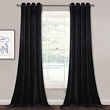 StangH Living Room Velvet Blackout Curtains - Grommet Top Thermal Insulated Curtain Panels Chill Resist Keep Warm for Living Room, Black, W52 x L84 Inches, 2 Pieces