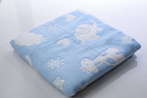 "Organic Cotton Muslin Swaddle Blanket 6 Layer Multi Blue Fish Pattern Baby Bath Towels Oversize 110cm x 110cm/43"" x 43"" ..."