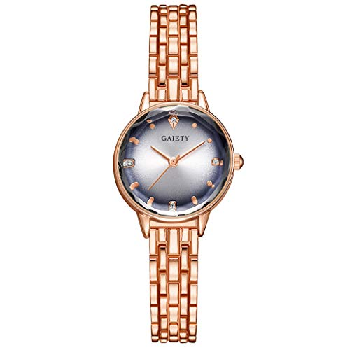 Jiechu Fashion Ladies Watches on with Expansion Band Casual Simple Watches Stainless Steel Business Wristwatch Date Waterproof European and American (B) ()