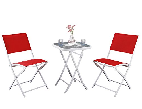 PHI VILLA 3 Pcs Outdoor Textilene Folding Bistro Set-Portable Patio Table and Sling Chairs Set, Red
