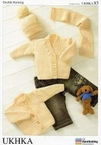 Ukhka 83 Cardigans Hat And Scarf Baby Double Knitting Pattern
