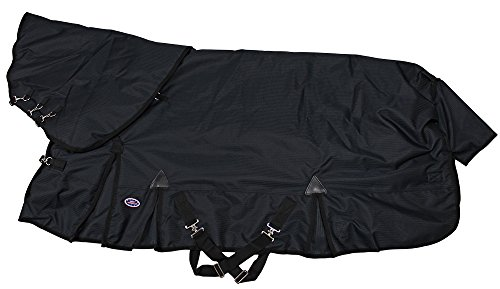 (Derby Originals 80-8095BK-75 Extreme Elements Collection 1200D Ballistic Nylon Triple Gusset Heavyweight Waterproof Horse Turnout Blanket with Removable Hood, 75