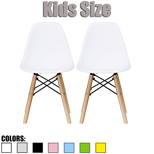 2xhome - Set of Two (2) - White - Plastic Chair For Kids Size Plastic Chair Size Side Chairs Plastic Chairs White Seat Natural Wood Wooden Legs Eiffel Childrens Room Chairs No Arm Arms Armless Plastic by 2xhome