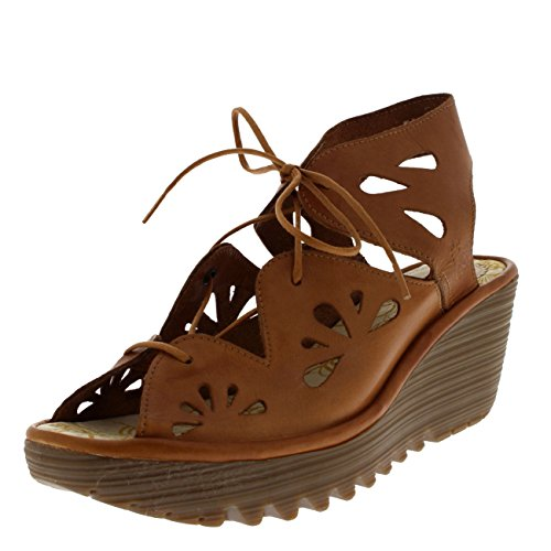 FLY London Womens Yote Wedge Heel Leather Summer Open Toe Cut Out Sandal - Colmar Tan - 9 by FLY London